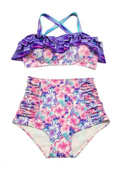 Pink Purple Flora Top and High Waisted Waist Shorts Bottom Summer Swimsuit Swimwear Bikini Swimming Swim Beach Bathing suit  Swimdress S M L