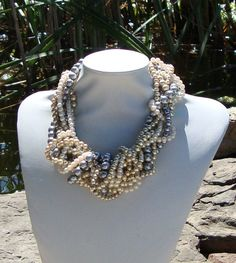 Sea Coral Twisted Pearl Necklace, $79.00