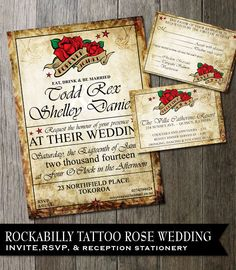 Rockabilly Wedding Invitation-Invitation, rsvp card and reception insert-Rose Tattoo Wedding Digital Files Invitation Digital Printable $45.00 Via ODD WEDDINGS www.oddlotweddings.com