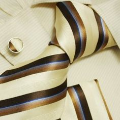 khaki striped silk ties for men anniversary gifts formalwear silk tie cuff handkerchiefs set H5095