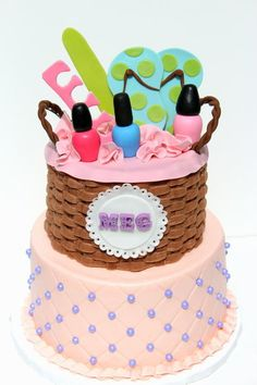 Pedi/mani Party Cake..in case one of the girls want this theme someday.