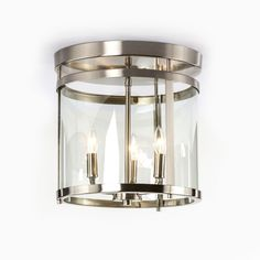 251 First Selby Brushed Nickel Three Light Semi Flush Mount On SALE