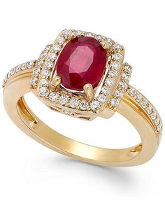 Ruby (1-1/2 ct. t.w.) and Diamond (1/3 ct. t.w.) Ring in 14k Rose Gold
