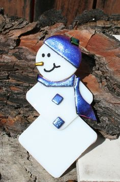 Pink Purple Fused Glass Snowman Fused Glass by hbjewelrydesign, $14.00