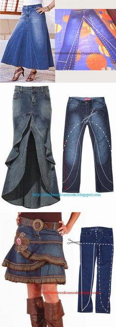 Переделочки из джинсов. | переделки старых вещей в новые | Постила