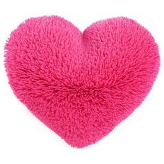 Fluffy Hot Pink Valentine Heart Shaped Decorative Pillow Small Size