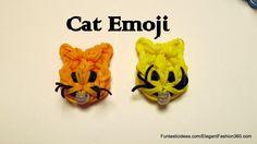Rainbow Loom Cat Face Emoji/Emoticon charm - How to tutorial by Elegant Fashion Rainbow Loom Animals, Rainbow Loom Patterns, Rainbow Loom Creations, Loom Love, Fun Loom, Rainbow Loom Charms, Rainbow Loom Bracelets, Loom Bands Designs, Emoji Craft