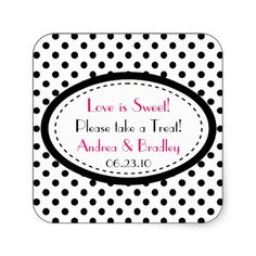 Pink Black White Polka Dot Candy Buffet Wedding Square Stickers