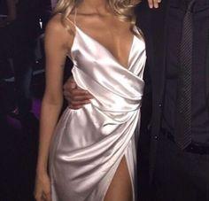 silk pink slit long dress