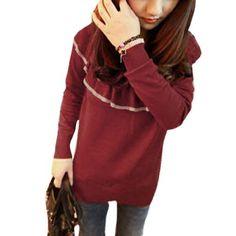 Allegra K Ladies Scoop Neck Ruffled Wide Collar Long Sleeve Shirt Burgendy XS Allegra K. $11.66