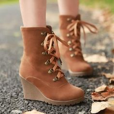 Buy 'Smoothie – Lace-Up Wedge Boots' at YesStyle.com plus more China items and get Free International Shipping on qualifying orders.