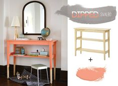 10 Ikea Hacks That Are Superb And Easy - Dipped Furniture Hack Dipped Furniture, Ikea Furniture, Furniture Projects, Orange Furniture, Painted Furniture, Furniture Buyers, Furniture Cleaning, Ikea Table, Diy Table