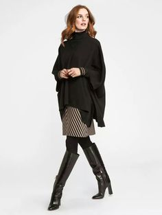 Faux Cashmere Contrast Hi Lo Sweater Striped Knit Skirt  For more information about this look, contact Janet or send a message to Janet at jmajev @wbyworth.com. By appointment only.
