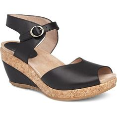 Charlotte An Open Toe, Sandal With An Ankle Strap And Dual Density Pu Wedge With Leather And Cork. Leather Uppers And Leather LiningsSuede Socklining For Softness UnderfootMolded Dual-Density Eva Footbed With Memory Foam For CushioningSku: Dressy Sandals, Black Wedge Sandals, Wedge Shoes, Women's Shoes, Cute Wedges Shoes, Comfortable Wedges, Dansko Shoes, Slingback Sandal, Me Too Shoes