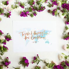 """Life Of My Heart — """"Travel through the Earth"""" Quran 29:20 Brush Lettering Islamic Wall Art at www.lifeofmyheart.com.au"""