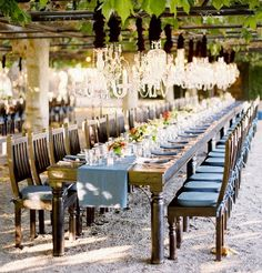 Love the idea of long tables for a wedding reception.