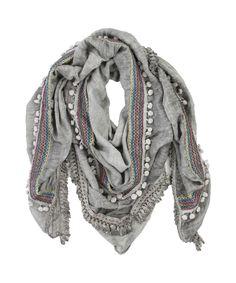 Big Embroidered Scarf Grey - Jenterommet Big, Grey, Fashion, Gray, Moda, Fashion Styles, Fashion Illustrations