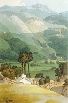 Ambleside, 1786 (W/C with Pen and Ink over Graphite on Laid Paper)-Francis Towne-Giclee Print Watercolor Landscape, Landscape Art, Landscape Paintings, Watercolor Paintings, Landscapes, Watercolors, Irish Landscape, Watercolor Trees, Landscape Drawings