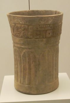 Late Classic Maya cup in the Museum of the Americas, Madrid. Originally from El Salvador