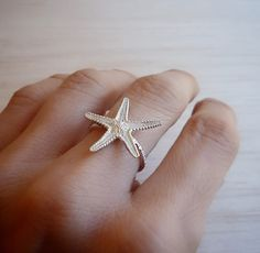 Sterling Silver Starfish Ring - Adjustable Size Summer Ring Starfish Ring, Gold Plated Necklace, Beautiful Earrings, Rose Gold Plates, Sterling Silver Chains, Stud Earrings, Pendants, Summer, Jewelry