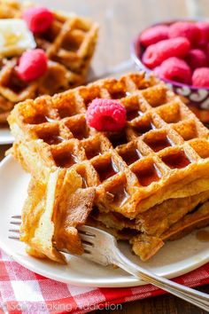 Here is a recipe for my favorite buttermilk waffles. Delightfully crisp on the outside, light as air on the inside. These will be your new favorite way to spend Sunday mornings!