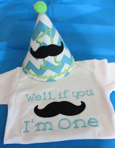 Boys First birthday-well if you mustache, I'm One white onesie with black and white chevron party hat on Etsy, $36.00