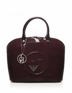 Armani Jeans Women s Patent Bugatti Shopper Bag OS BORDEAUX Armani Jeans  af51d304857e1