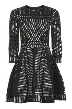 Geometric Pattern Fit And Flare Knitted Dress