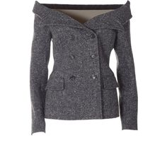 Faith Connexion  Tweed Sailor Jacket ($1,145) ❤ liked on Polyvore featuring outerwear, jackets, grigio, double breasted jacket, gray tweed jacket, faith connexion jacket, long sleeve jacket and gray jacket