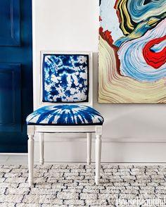 Shibori indigo dye chair