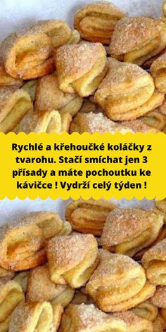 Rychlé a křehoučké koláčky z tvarohu. Stačí smíchat jen 3 přísady a máte pochoutku ke kávičce ! Vydrží celý týden ! Baking Recipes, Dessert Recipes, Luxury Food, Czech Recipes, Sweet Breakfast, I Love Food, Food Hacks, Food Videos, Sweet Recipes