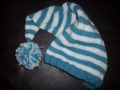 blue and white newborn long tail elf pixie knit by SandraLDesigns, $20.00