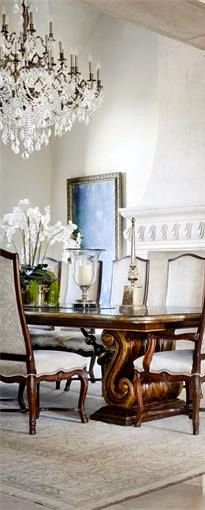 this dining table and fireplace  ༺༻ Create an Exceptional Decorating Level with Beautiful #Bathroom, Living Rooms, #Pools, #Kitchens and more.  IrvineHomeBlog.com