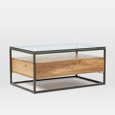 Coffee table Suggestion to Pair with IKEA Media Unit:  Box Frame Storage Coffee Table | west elm 42x24