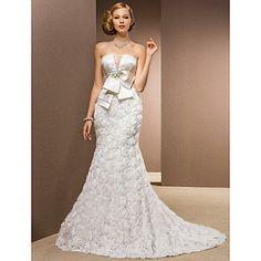 Lan Ting Trumpet/Mermaid Plus Sizes Wedding Dress - Ivory Chapel Train Strapless Chiffon/Satin/Tulle/Stretch Satin – USD $ 299.99