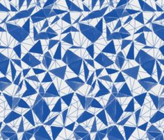 The Pattern Observer #4 on www.thecreativecontente.com // triangle facets - cobalt blue by ravynka on Spoonflower