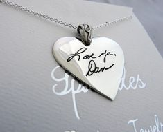 Handwriting Jewelry In Memory Signature Necklace Large Heart Pendant in Sterling Silver Hammered Silver, Sterling Silver, In Memory Of Dad, Beautiful Handwriting, Small Words, Small Heart, Customized Gifts, Sparkles, Heart Shapes