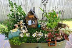 24 Creative DIY Fairy Garden Ideas Homemade www. Garden Ideas Homemade, Wheelbarrow Garden, Mini Fairy Garden, Fairy Gardening, Fairy Box, Fairy Land, Gardening Tips, Fairy Furniture, Wooden Furniture