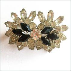 60's Vintage Rhinestone Flower Brooch
