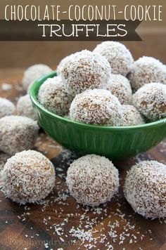 Chocolate Coconut Cookie Truffles. Just 4 simple ingredients to make these delicious treats!