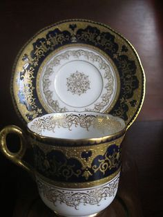 Antique Coalport Cabinet Demitasse Cobalt Blue and Gold Cup and Saucer 1800S