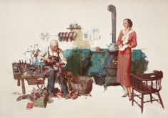 Mainstream Illustration, SAUL TEPPER (American, 1899-1987). Woman Standing in Cobbler'sShop. Oil on canvas. 31 x 44 in.. Signed lower left. ... Image #1