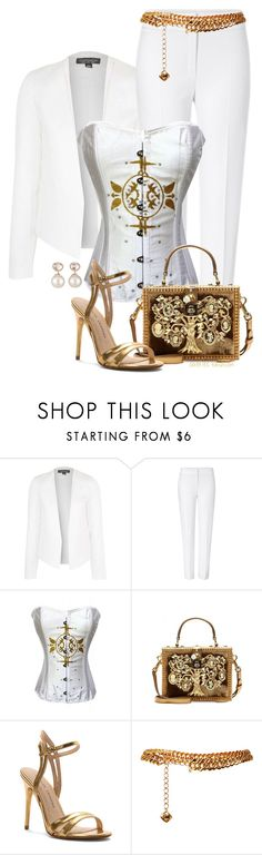 """""""White & Gold"""" by rosipolooyas on Polyvore featuring moda, Topshop, ESCADA, Dolce&Gabbana, Chinese Laundry, Yves Saint Laurent y Samira 13"""