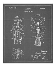 Love this art! Just need it cheaper lol. Take a look at this 'Cork Extractor' Patent Art Print by Oliver Gal on #zulily today!