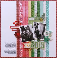 Christmas layout, 2 photos, great for scraps with lots of prints