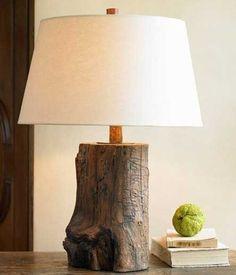 Tree trunk lamp. DIY