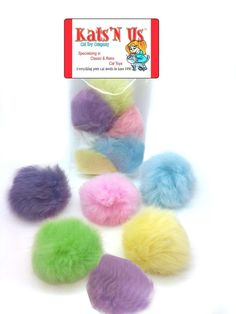 Real Rabbit Fur Pom Pom Ball Cat Toy - Colorful Flying Fuzz Balls-10Pk * See this great product. (This is an affiliate link) #CatLovers