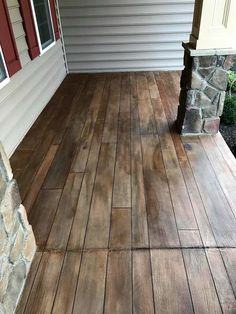 Screened In Porch Rustic Concrete Wood Porch- Tailored Concrete Coatings- Bo… Wood Stamped Concrete, Painted Concrete Porch, Concrete Front Porch, Porch Wood, Concrete Walkway, Painting Concrete, Stained Concrete, Concrete Floors, Decorative Concrete
