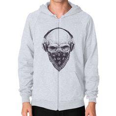 Skull with Headphones Zip Hoodie (on man)