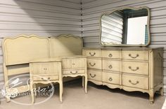 Davis Cabinet Company vintage bedroom set.  King sized headboard, two nightstands, long dresser with mirror and vanity w/chair (not pictured) ~ available for sale as a set or sold separately.